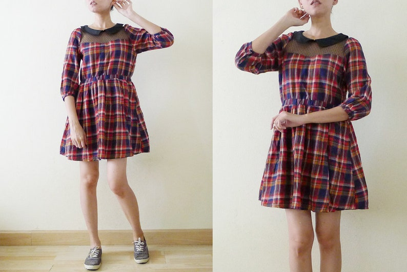 0642b591576 90s Red Navy White Plaid Flannel skater baby doll mini dress