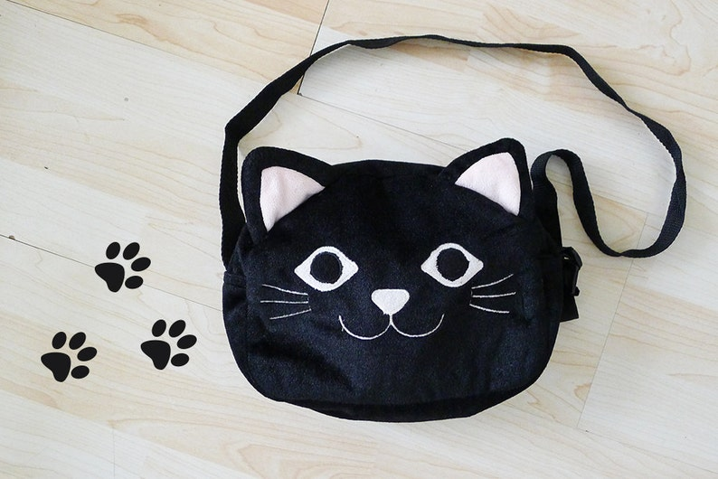 Cute vintage SMILING CAT black Furry shoulder bag Kitten mini  261ad51ba225e