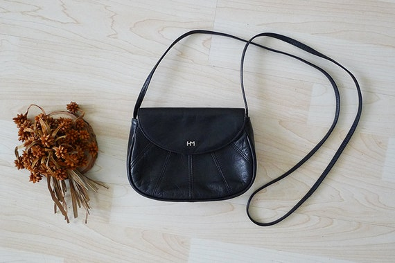 Vintage HANAE MORI Black Genuine Leather small shoulder bag  820529a86197a