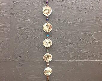 Stoneware Chakra symbols, Chakra Symbols, Chakra wall hanging, Autumn Foliage colour