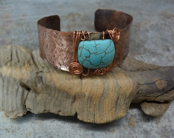 Textured Copper Cuff Bracelet with turquoise bead, Handmade Copper Bracelet, Cuff Bracelet, Turquoise color bead