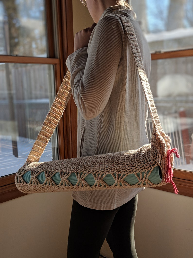 yoga bag Crochet yoga mat bag yoga tote yoga mat tote
