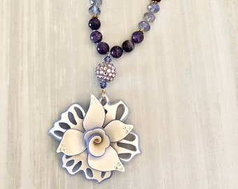 Magenta Agate Stone Bracelet ~ Boho Bead Bracelet ~ Pink Gemstone Bracelet ~ Flower Beads ~ Toggle Bracelet ~ Gift for Her ~ WestportCharm