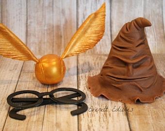 Harry Potter Fondant Cake Topper Decorations - Sorting hat, glasses or golden snitch