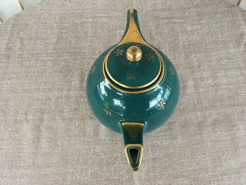Hall Teapot Green with Gold Accents