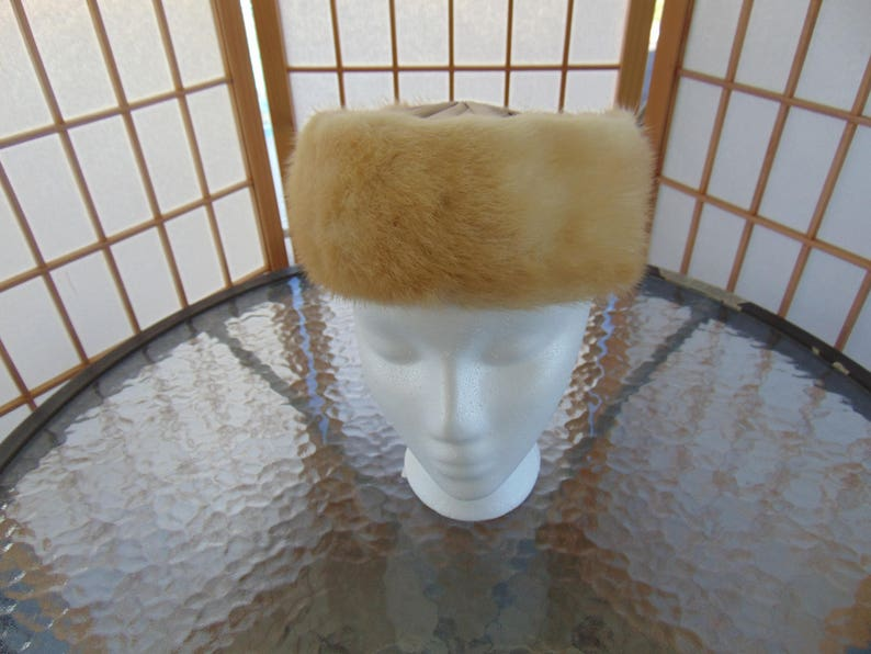 Mink and Satin Pillbox Hat Jackie Kennedy Style 1960s Perfect