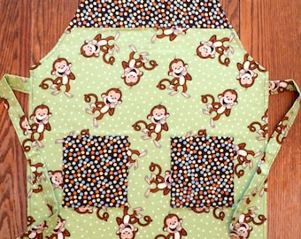 Child's Reversible Apron with Laughing Monkeys