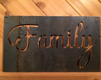 Rustic Metal Family Sign - Metal Wall Decor By PrecisionCut on Etsy