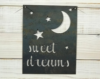 Rustic Metal Nursery Sweet Dreams Stars and Moon Sign - Metal Wall Art By PrecisionCut on EtsyFarmhouse Style Decor
