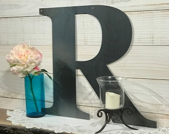 Large Metal Letter R - Rustic Metal Sign - Metal Wall Art - Modern Farmhouse Decor - 18 inch