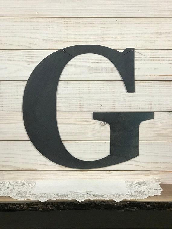 large metal letter g rustic metal sign metal wall art etsy. Black Bedroom Furniture Sets. Home Design Ideas