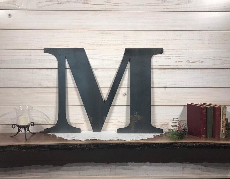 Large Metal Letter M  Rustic Metal Sign  Metal Wall Art  image 0