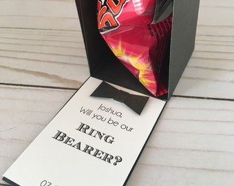 Ring Pop Box, Will you be my Ring Bearer Gift Box, Ring Pop Bridesmaid Proposal, Flower girl Gift, Mini paper box- black or white