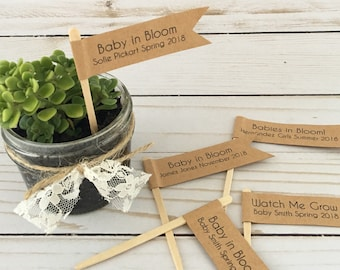 Plant Flag, Baby in Bloom Plant Flags, Watch Me Grow, Botanical Baby Shower Plant Favors, Plant Pick, Baby Arrival, Baby Due Date