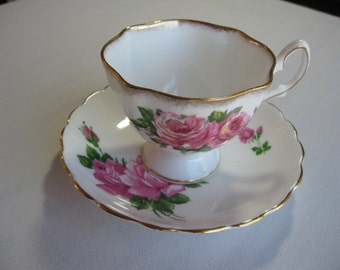 Pink Rose Bone China Teacup & Saucer England
