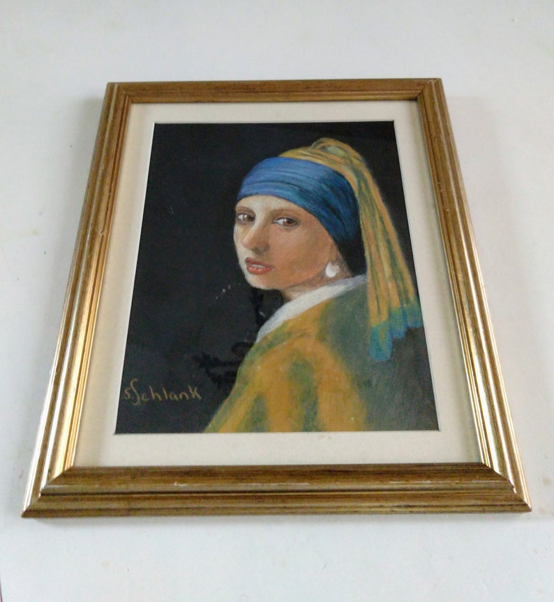 Portrait of Girl With Pearl Earring  Framed Pastel  image 0