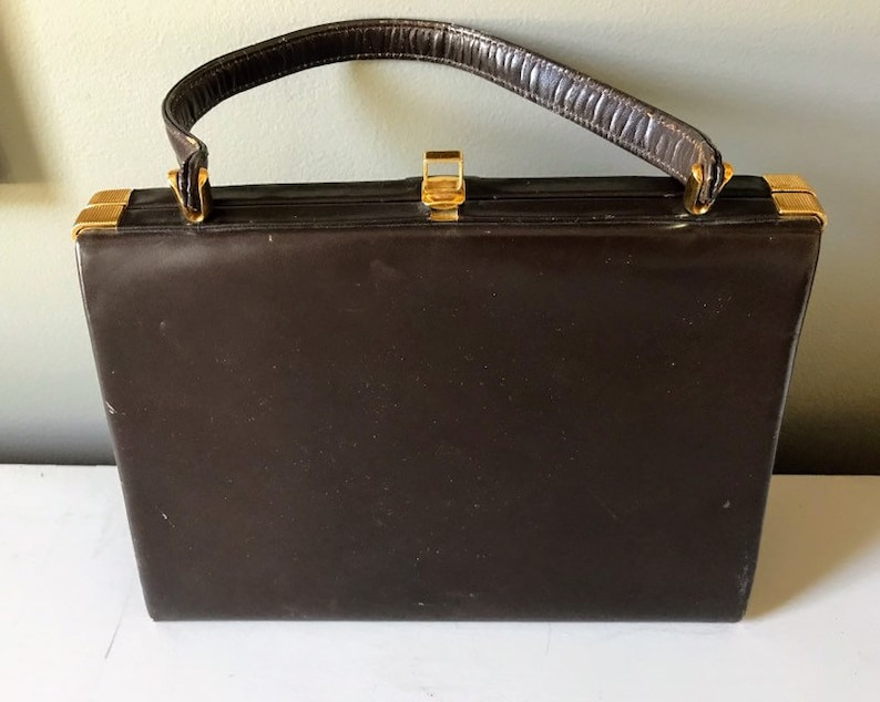 Fassbender of London Leather Handbag  Brown Leather with Gold image 0