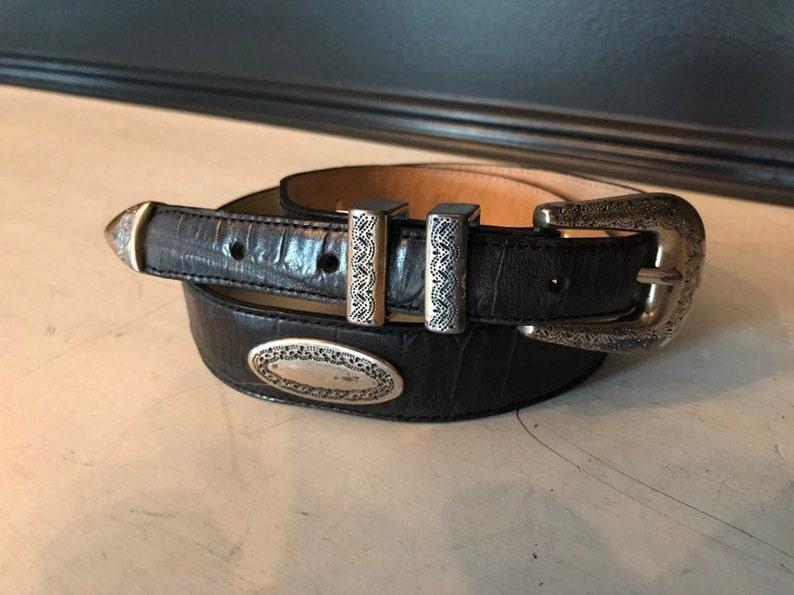 Vintage Fossil Leather Belt  Unisex Belt Black Croc Embossed image 0