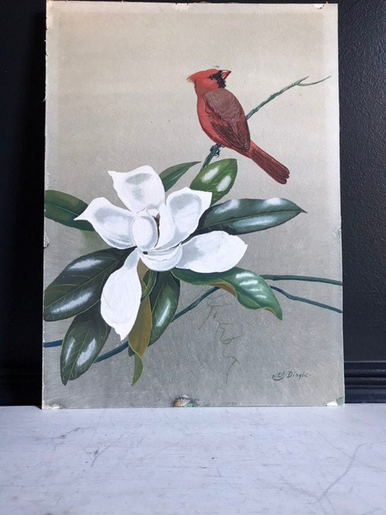 Vintage Original Painting  Red Cardinal on Magnolia Blossom image 0