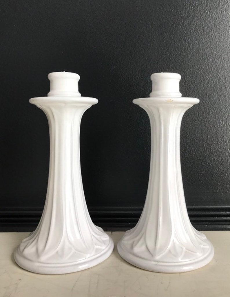 Vietri White Pottery Candlesticks  Made in Italy Candle image 0