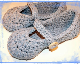 womens slippers, Crochet slippers in mary jane style, denim blue with wood button