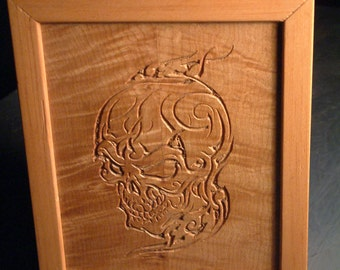 Skull on Book Matched Maple Box