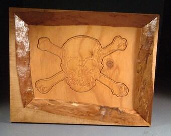 Skull & Bones in a Natural Edge Frame