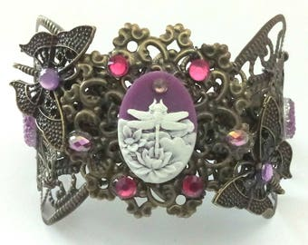 Bracelet Bronze and Rose Antique Baroque flower and butterflies