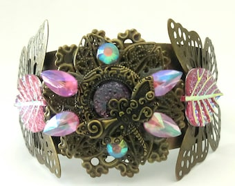 Bronze and pink fairy Cuff Bracelet