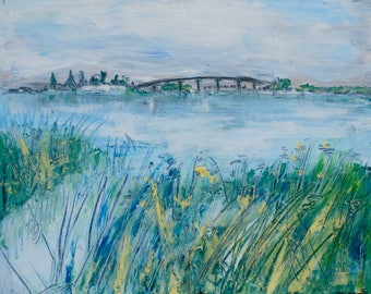 Hindmarsh Island Bridge South Australia Murray River oil painting