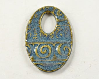Ceramic Pendant Necklace Focal Bead Blue Textured Pottery Jewelry Clay Pendant