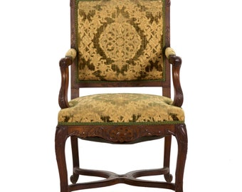 19th Century Antique French Rococo Revival Carved Walnut Arm Chair