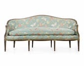 English Antique George III Period Green Painted Canapé Sofa 18th Century Settee Upholstered and Hand Carved Loveseat