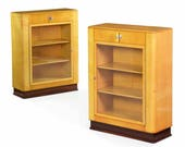 Fine Quality Pair of Art Deco Birch and Rosewood Bookcase Cabinets Vitrines Bookshelf circa 1930