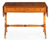 Fine English Regency Antique Console Table Behind Sofa Table in Satinwood, Period 19th Century Circa 1825