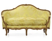 Antique French Louis XV Period Carved Beechwood Canape Loveseat, 18th Century