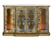 Antique French Art Deco Eglomisé Smoked Mirror Bar Server Console Sideboard, Circa 1940s, Lighted