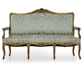 Antique French Sofa Settee Louis XV Style Carved Giltwood Blue Silk Damask, 20th Century