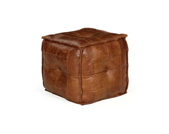 Vintage Stitched Saddle Leather Ottoman Footstool Pouf, 20th Century