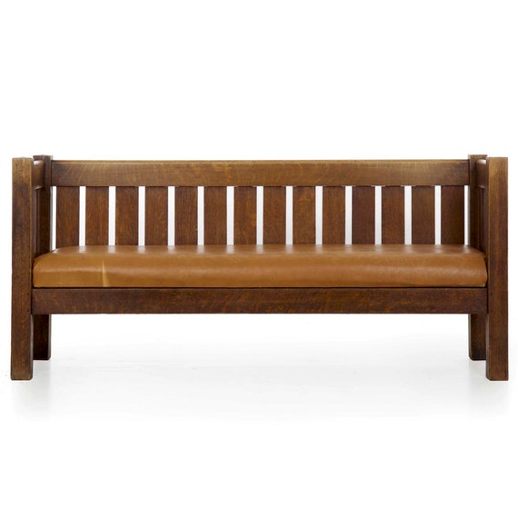 Incredible Sofa Bench Settee Mission Arts Crafts Oak And Leather Antique Hall Settee Settle Sofa Early 20Th Century Gmtry Best Dining Table And Chair Ideas Images Gmtryco