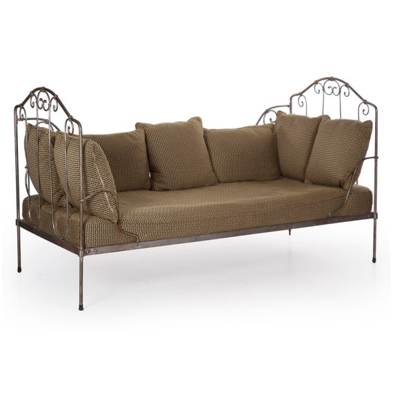 Brilliant Daybed Vintage Sofa Daybed Chaise Lounge Wrought Iron With Gray Metal Surface Daybed Sofa Upholstered 19Th Century Onthecornerstone Fun Painted Chair Ideas Images Onthecornerstoneorg