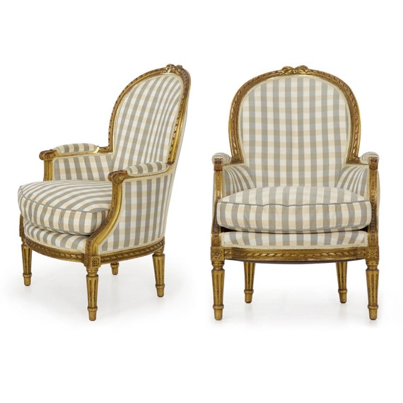 image 0 - Antique French Arm Chairs Bergeres In Louis XVI Style Circa Etsy