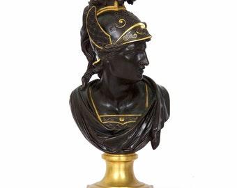19th Century Grand Tour Antique Bronze Sculpture Bust of Mercury Hermes