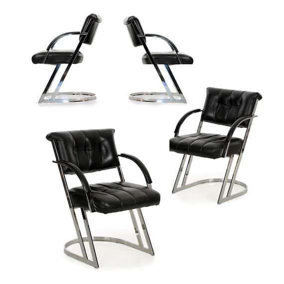 Excellent Set Of Four Dining Chairs Mid Century Modern Dining Set Black Leather Modern Chairs Chrome Steel Designer Chairs Circa 1990 Creativecarmelina Interior Chair Design Creativecarmelinacom
