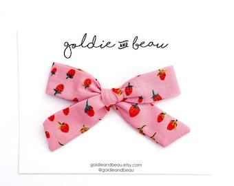 Pink Strawberry Bow Set