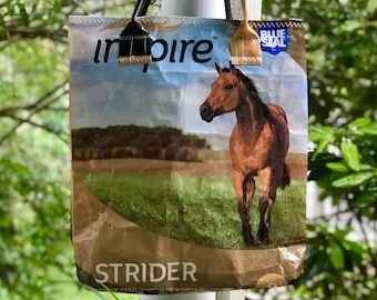 ~ made by upcycling a beautiful Poulin horse feed bag into a sturdy Horse bags re-usable tote bag!