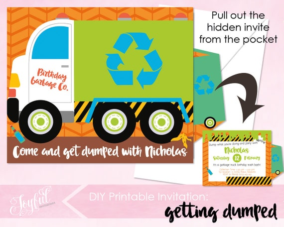 Garbage Truck Birthday Party Printable Invitation