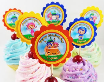 Personalized Team Umizoomi 2 Scallop Birthday Cupcake Toppers Mix N Match