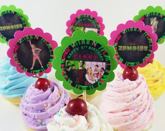 Personalized Disney Zombies 2 Scallop Birthday Cupcake Toppers Pink Green Classroom Party
