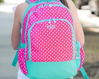 05b8ea1639b4 Pink Dottie Backpack with Monogram